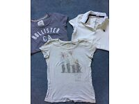 Abercrombie & Fitch white polo shirt and two Hollister t-shirts