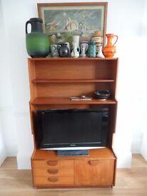 1960's Teak Sideboard TV stand Book shelf Display Unit Draws Cupboard Teak Retro