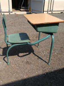 Oakville Childs Old School Desk  Kids 1960s 60s Vintage Retro Furniture Wood & Metal