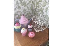 Fun tea party collection: cupcakes stand, teapot and pots
