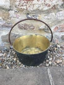 Antique fixed handle Brass jam pot 11 1/2 inches 29 cms