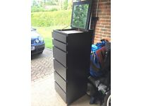 IKEA MALM Chest of 6 drawers, black, mirror glass (RESERVED)