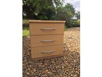 Beech bedside unit set of 3 drawers