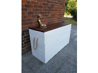 Xl Tall Rustic Linen chest/trunk storage. Handcrafted/reclaimed wood/shabby chic. LOCAL DELIVERY.