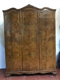 Vintage walnut Queen Anne french styled triple wardrobe