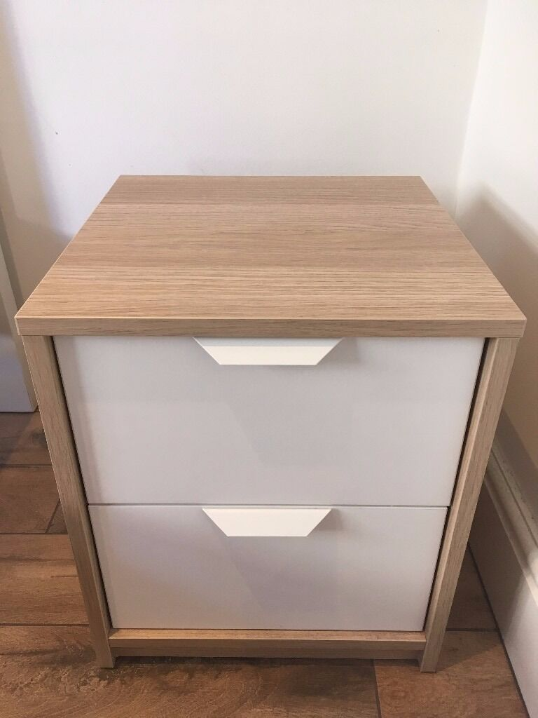 Ikea Askvoll Chest Of 2 Drawers Bedside Table Nearly New