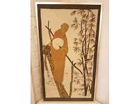 Monk wall art in gold brass frame