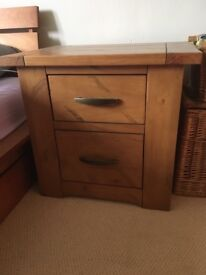 Two lovely wood bedside tables by Dunelm as new stunning solid wood