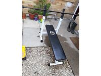 Weight bench, bar and cast iron weights