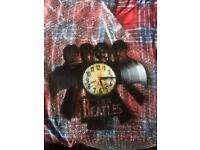 Beatles vinyl themed clock