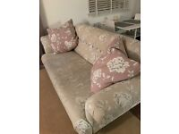 3 seater designer sofa 18 months old with matching contrast cushions