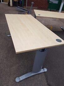 Lovely Maple wood effect straight office desks 1600mm