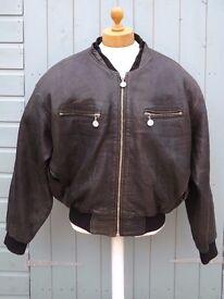 Vintage Dakota Federal Baseball Club-Soft Textured Leather Jacket-(Label) - L