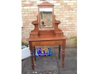 Victorian pine dressing table and chest of drawers