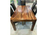 Sheesham wood dining table with 6 leather chairs