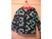 Girls Mini Boden Fleece Lined Anorak Coat Blue Flowers Age 7 - 8