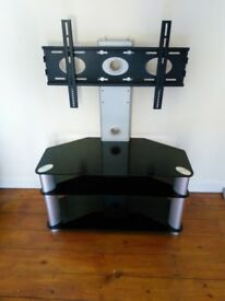 Large Silver/ Black Glass TV Stand