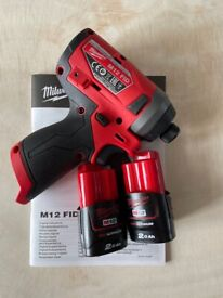 Milwaukee M12FID-0 12V Impact Driver GEN 2 With 2x 2Ah Batteries