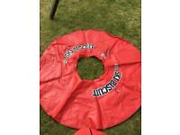 Large Water inflatable doughnut and adult life jacket