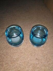 Blue glass tealight holders - pair
