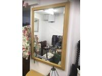 LARGE BEVEL EDGED MIRROR PAINTED IN DAISY CHAIN CHALK PAINT