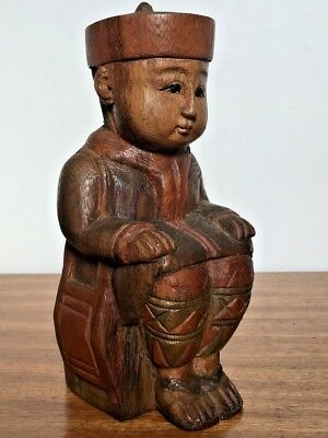 VTG 1935's China Wood Figurine Hand carving Hand Painted Boy sitting Table Decor
