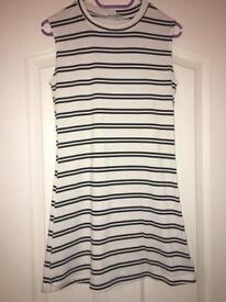 Woman's Black And White Striped Dress Size 8