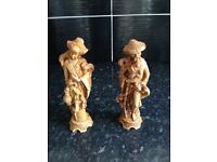 "pair of 10"" tall statues could be chinese carved"