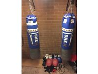 2x punch bags with brackets included plus 3 pairs of gloves and ropes