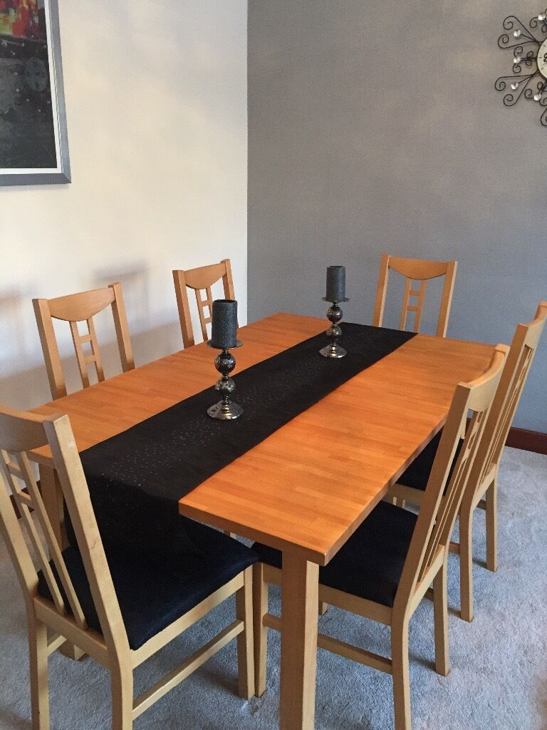 Solid birch wood dining table