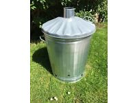 Galvanised metal incinerator bin