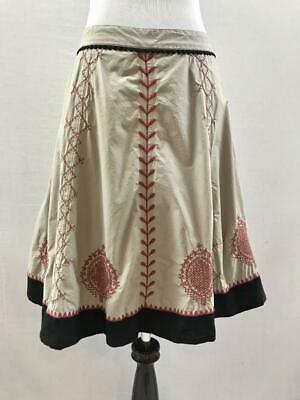 Anthropologie Hoss Intropia Embroidered Full Skirt US Size 8 EU Sz 38 Tan Cotton