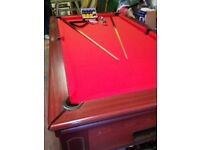 7 x4 Heywood's pool table recovered in Red Strachan cloth
