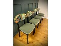 Mid century dining chairs in Linwood velvet x4