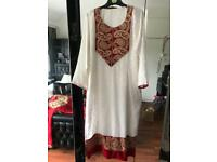 White and red kameez
