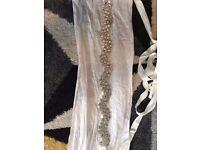Bridal wedding dress belt silver bling