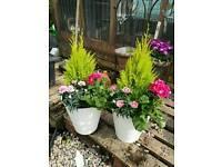 Round white or black planters 2 for £24 summer flowers, garden