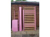 Cheap Girls pink pine single bunk bed £45