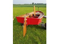Mirror dinghy sailing boat with trailer launching trolley and cover. All very good condition