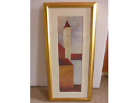 Framed Painting Picture With Gold Frame And Glass 78cm x 37cm
