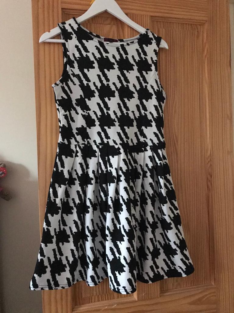 Ladies size 12 black and white dress