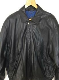 Gents Black Leather Bomber Jacket