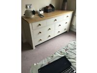 Oak and white finish bedside cabinets and 7 draw dresser