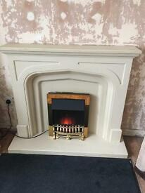 Featherstone fireplace, hearth and backing
