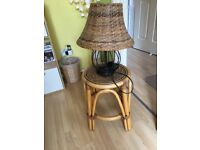 Wicker lamp and table