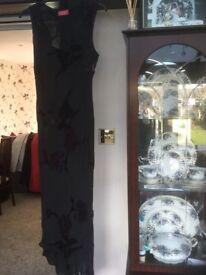 Ann Scholz Black chiffon evening dress with velvet detail