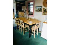 Upcycled Farmhouse chunky pine table & 6x Restored Antique Chapel/Church chairs