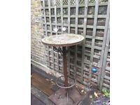 Outdoor Patio Standing Table, Iron and Mosaic Tile