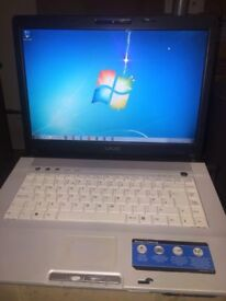SONY VAIO LAPTOP-WINDOWS 7- CORE 2 DUE-160GIG-PERFECT WORKING-OFFICE 2016-WEBCAM-DVD-FREE DELIVERY