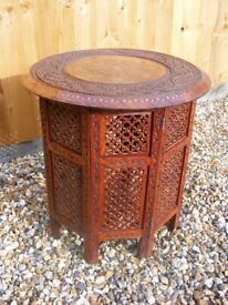 Antique Anglo Indian Style Carved Inlaid Wooden Folding Decorative Side Table